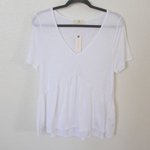 Anthropologie t.la White Flowy Short Sleeve Shirt